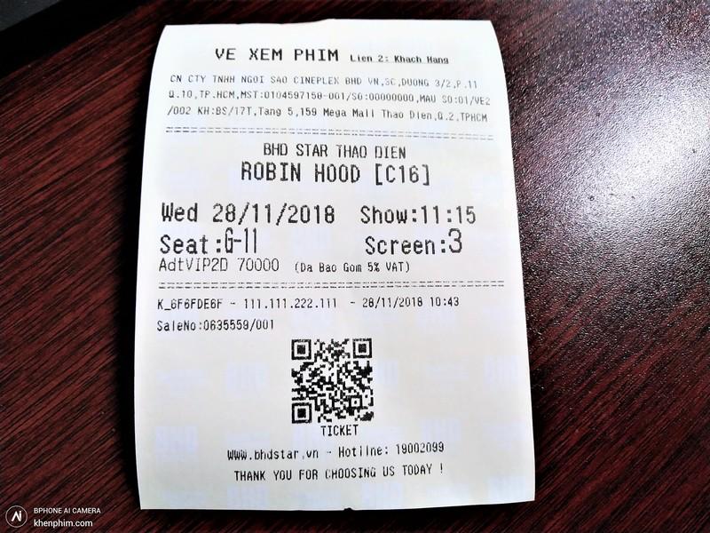 Vé coi phim Robin Hood