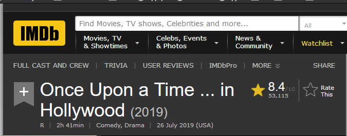 Once Upon a Time ... in Hollywood IMDb