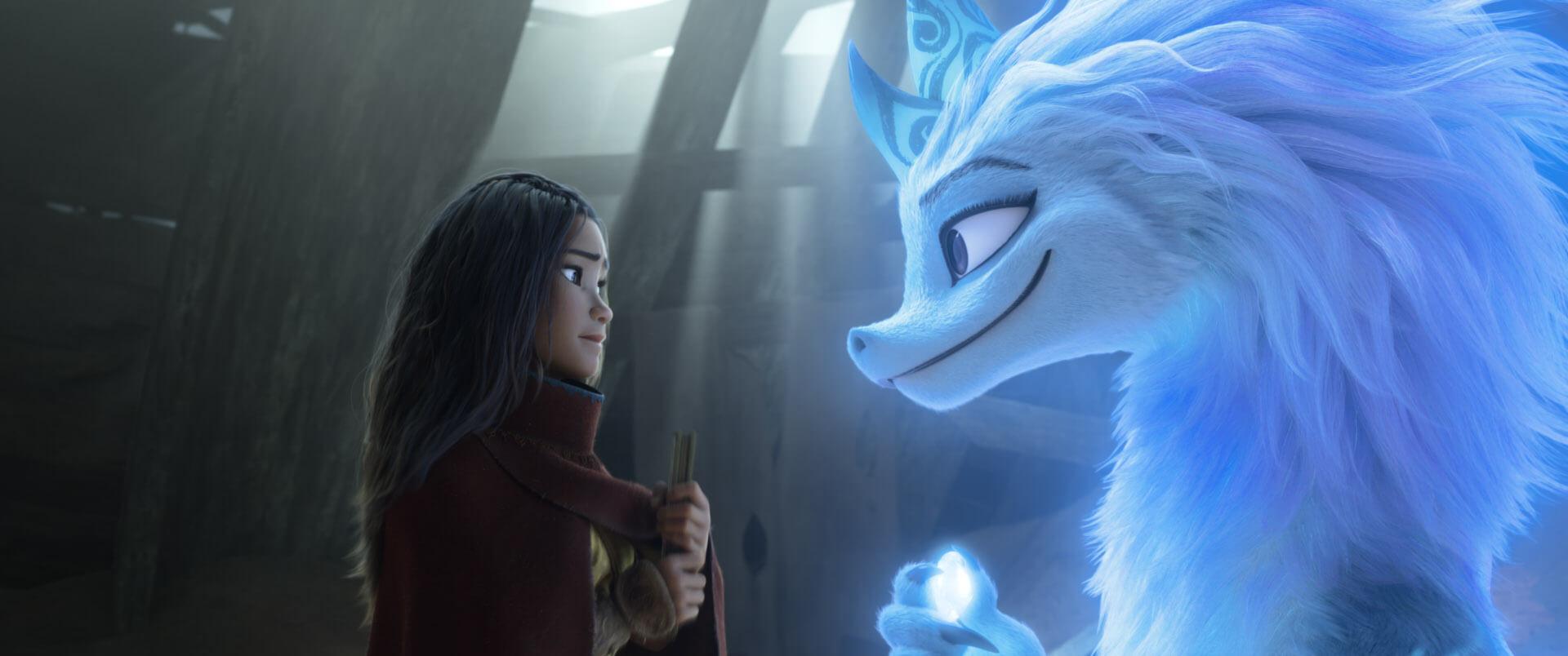 Cảnh Raya và rồng thần gặp nhau